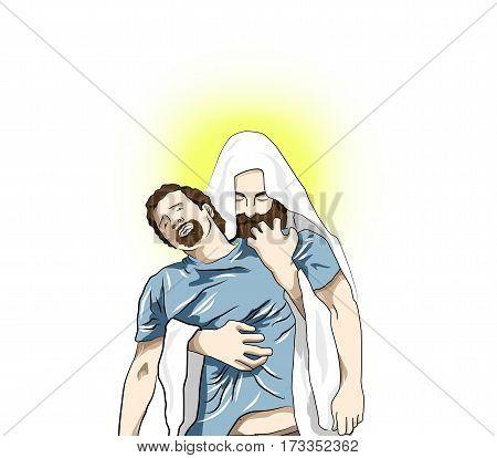 Religion Illustration With Jesus Christ