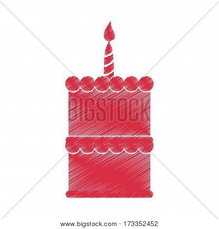 drawing red birthday cake sweet vector illustration eps 10