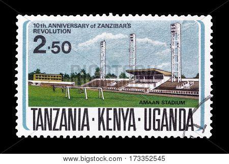 TANZANIA KENYA UGANDA - CIRCA 1974 : Cancelled postage stamp printed by Tanzania, Kenya, Uganda, that shows Amaan stadium.