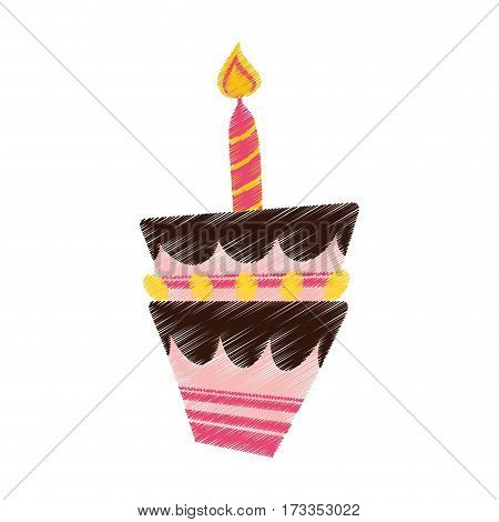 drawing birthday cake candle vector illustration eps 10