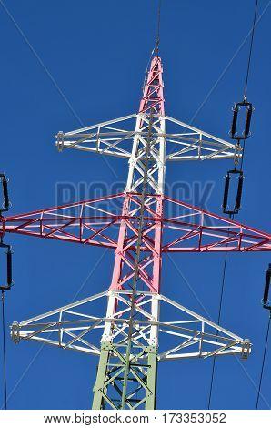 view of electricity pylons southern Bohemia. Czech Republic