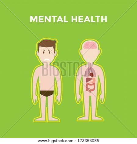 mental health illustration with two bodies shows its organ such brain, lung, heart and liver and also a smiling man with green background vector
