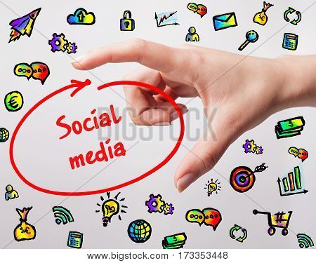 Technology, Internet, Business And Marketing. Young Business Woman Writing Word: Social Media