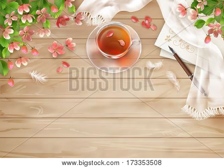 Decorative vector flat lay composition with spring flowers. Top view on wooden background