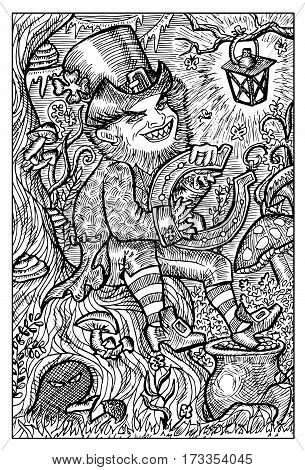 Leprechaun and pot with gold. Hand drawn vector illustration. Engraved line art drawing, black and white doodle.