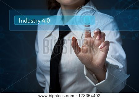 Business, Technology, Internet And Networking Concept. Business Woman Presses A Button On The Virtua