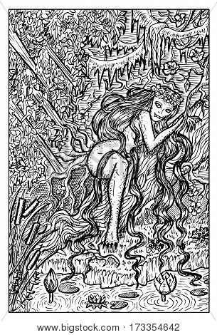 Genny Greenteeth, river hag. Swamp evil creature. Hand drawn vector illustration. Engraved line art drawing, black and white doodle.