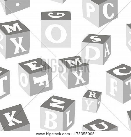 Wooden alphabet blocks pattern. Vector illustration, EPS 10