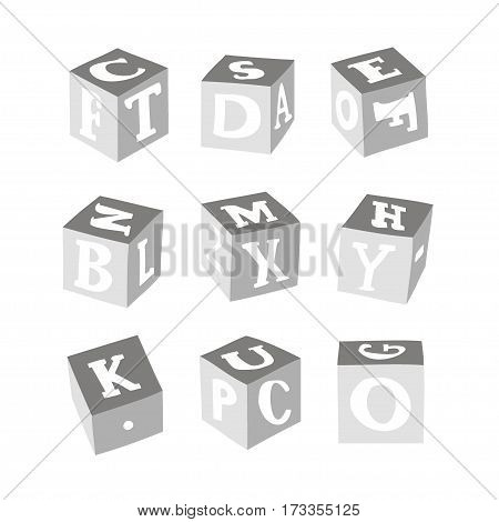 Wooden alphabet blocks. Vector illustration EPS 10