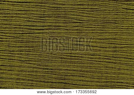 Olive green crinkled material with irregular horizontal lines fabric abstract background texture