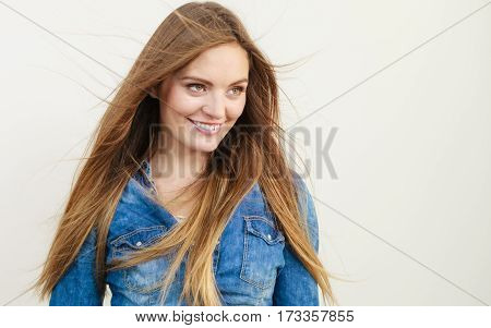 Young Woman With Waving Hairs.