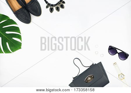 Top view of women's fashion set of accessories