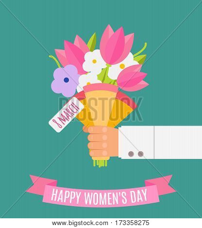 Wedding Bouquet Flowers Vector Illustration. Happy Women's Day. Beautiful Wedding Congratulation Bou
