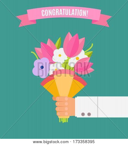 Wedding Bouquet Flowers Vector Illustration. Wedding Bouquet Flowers. Beautiful Wedding Congratulati