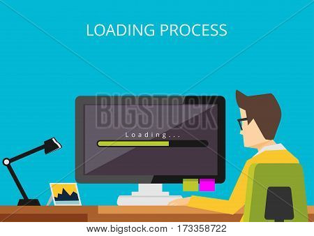 Loading process on computer Person waiting computer loading process.