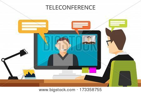 Teleconference concept. Video communication technology illustration. Video call. Businessman having teleconference.