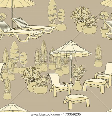 Vector illustration of hand drawn lounge chairs under patio umbrella and flowers in pot. Garden accessory on beige  background. Landscape design. Summer backyard with outdoor furniture.