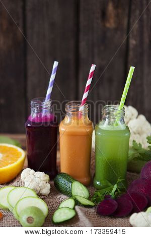 Various Freshly Squeezed Vegetable Juices For Detox