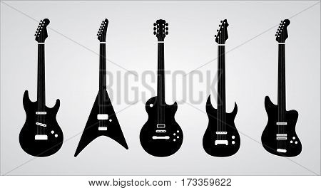 Isolated vector Guitars silhouettes set. Black and white ilustration