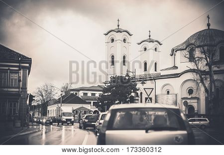 Small Town Traffic Jam And Church