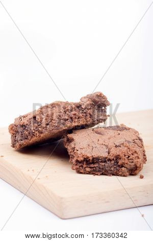 Chocolate Brownies Over White Background.