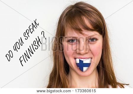 Do You Speak Finnish? Woman With Flag On The Tongue