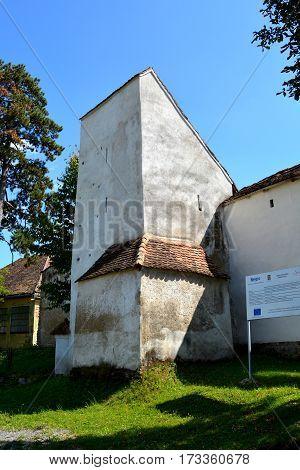 Fortified medieval saxon church Bunesti, county Brasov, transylvania, Romania.