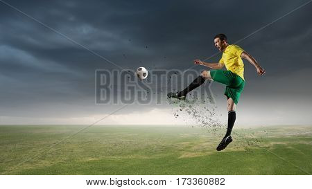 Soccer player outdoors . Mixed media