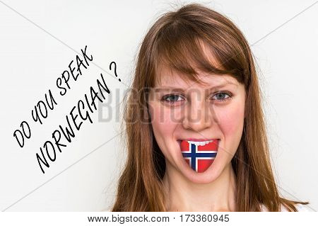 Do You Speak Norwegian? Woman With Flag On The Tongue