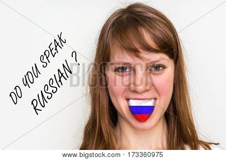 Do You Speak Russian? Woman With Flag On The Tongue