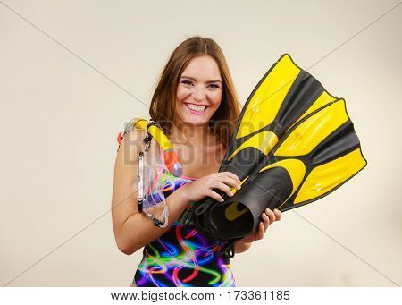 Woman With Flippers And Snorkeling Mask Having Fun