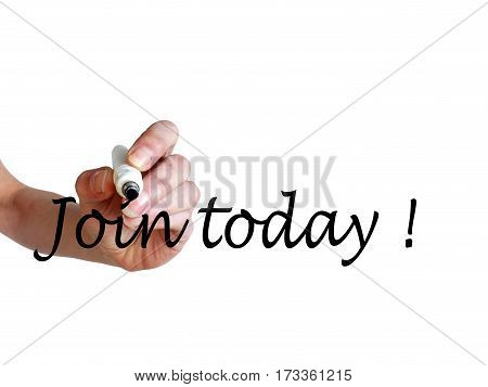 Hand Writing Join Today! With Black Marker On Transparent Whiteboard