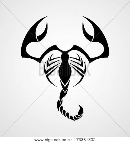 Scorpion black tribal tattoo design vector illustration