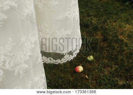 Elegant stylish white wedding dress hanging outdoors near trees female wedding clothes on hanger surrounded by nature vintage dress design