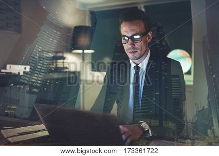 Concentrated Businessman Working At Office