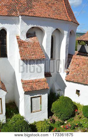 Fortified medieval saxon church in thie village Viscri, Transylvania, Romania, was built around 1100 AD.