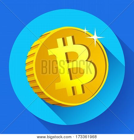 Bitcoin icon Gold coin with Bitcoin symbol. Cryptography currency icon flat
