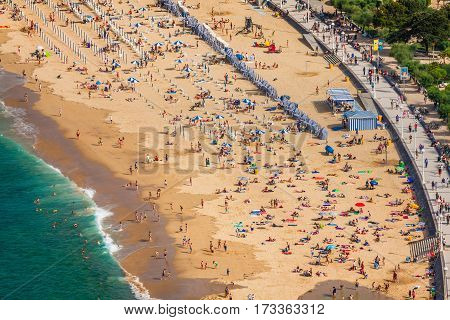 La Concha beach in San Sebastiaa Spain Europe.