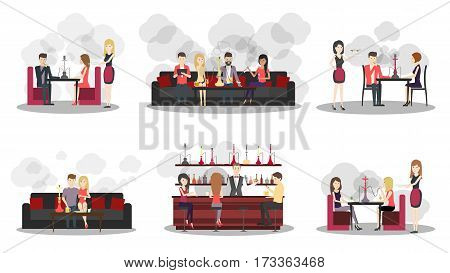 Hookah bar interior set on white background. Bar and restaurant with food and hookah service. Interior in smoke.