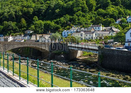 Two bridges over the River East Lyn and West Lyn. Two bridges over the River East and West Lin Ling. It are two rivers merge into one. Lynmouth. Devon. UK