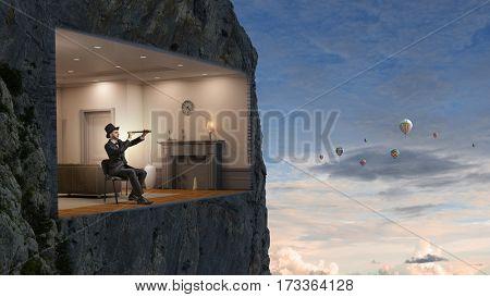 Office interior in rock. Mixed media . Mixed media