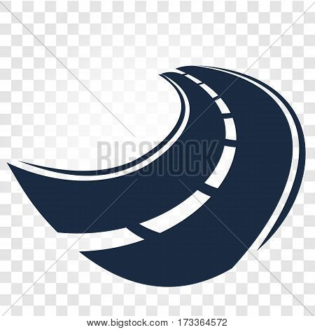Isolated black color road or highway with dividing markings on white background vector illustration