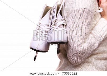 Woman Holding Ice Skates