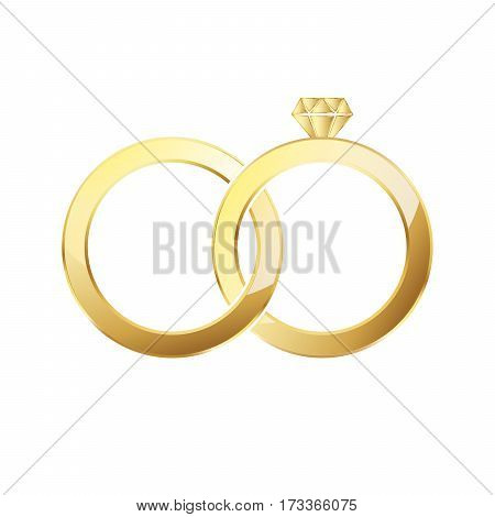 Golden ring and ring with diamond. Couple of gold wedding rings isolated on white background. Vector illustration