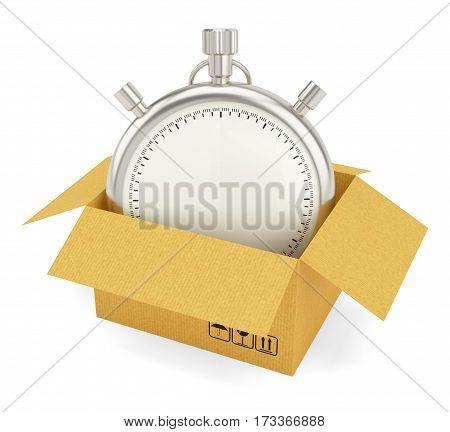 Open Cardboard Box with Stopwatch on White Background. 3D Rendering. Stopwatch with empty space for your content