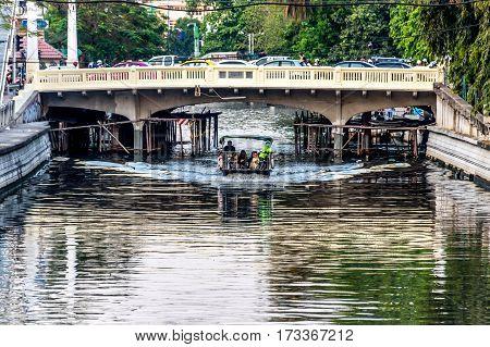 Passenger Ship On Khlong Phadung Krungkasem Canal