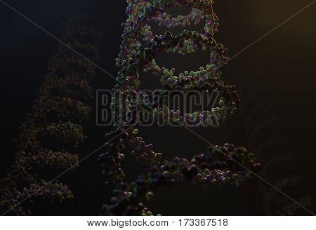 Sequenced pattern of DNA dark molecule atoms in threads 3d render