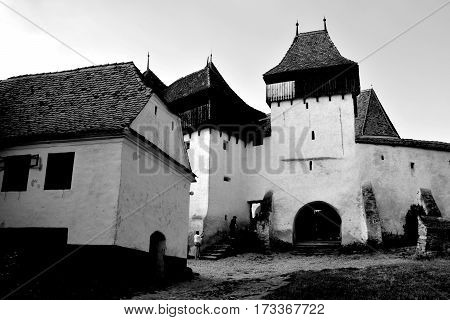 Medieval saxon church in the village Viscri, Transylvania, Romania. The fortified church in this village was built around 1100 AD.