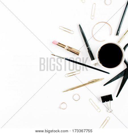 Home office workspace with coffee cup scissors clips and female accessories. Flat lay top view