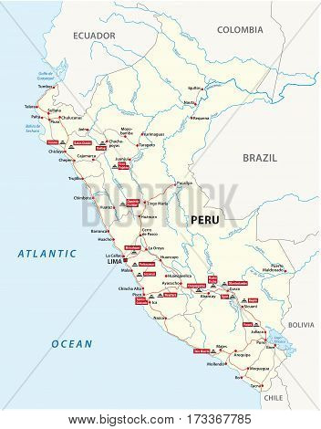 Road map of Peru with the main Inca ruins
